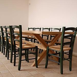 12 tavolo taverna naturale sedia verde paglia